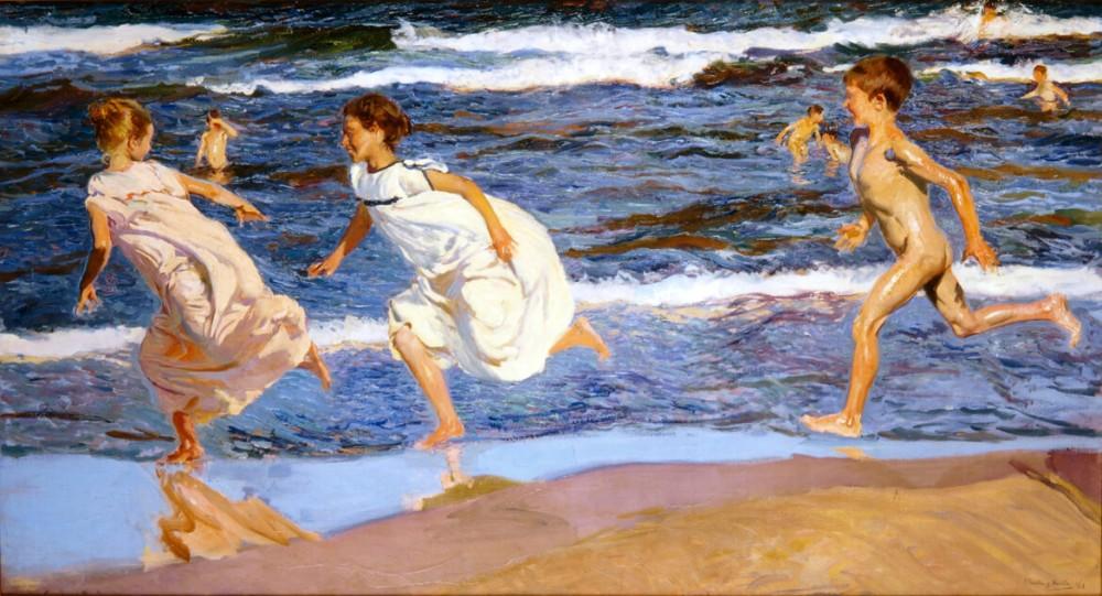 Corriendo por la playa Joaquin Sorolla